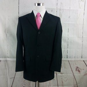 Versini 38R 3 Button Black Suit Blazer Sports Coat